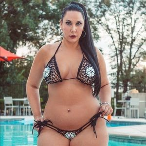 Wonder Wanda's Black Fishnet & Rhinestones Bikini